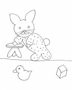 Coloriage des petits : lapin en pyjama