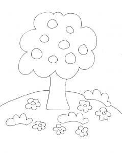 Coloriage des petits : le pommier