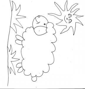 coloriage des petits : le mouton et le soleil