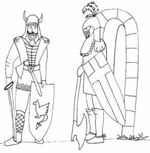 Coloriage de deux chevaliers discutant