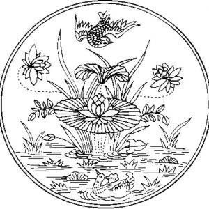 Coloriage sur la chine : médaillon aux lotus