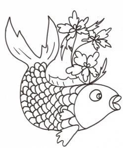 Coloriage sur la chine : gros poisson aux lotus
