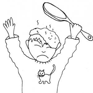 Imprimer le coloriage de la crèpe sur la tête - Un coloriage de la Chandeleur : pas facile de faire sauter les crêpes sans en prendre une sur la tête !