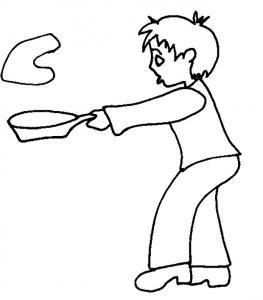 Imprimer le coloriage de la cuisine des crèpes de la chandeleur. Coloriage d'un jeune garçon en train de lancer une crêpe le jour de la Chandeleur