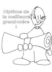Coloriage d'un diplôme pour grand-mère 2