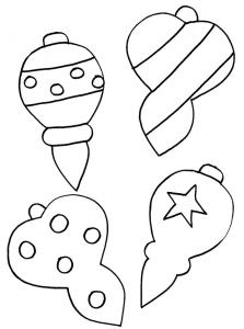 coloriage de quatre boules de Noël
