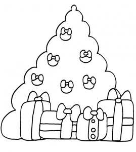 oloriage du sapin et ses cadeaux