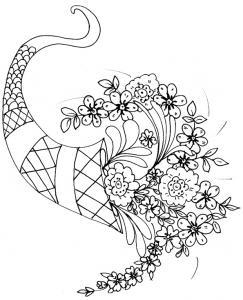Coloriage à imprimer d'une corne d'abondance remplie de fleurs. Un coloriage de fleur parfait pour préparer une carte d'accompagnement d'un cadeau.
