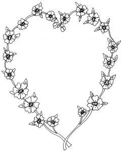 Imprimer le Coloriage d'un coeur réalisé avec deux petites branches de fleurs. Un coloriage parfait pour l'offrir en cadeau.