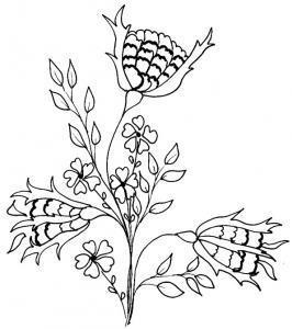 Coloriage d'un bouquet de chardons et de petites fleurs de champs à imprimer. Le dessin du bouquet de chardon peut aussi être utilisé pour faire une carte illustrée d'un coloriage.