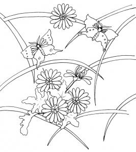 Imprimer le coloriage d'un motif de fleurs asiaqtique