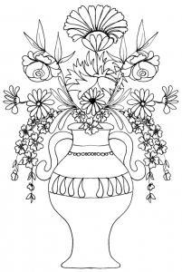 Imprimer le coloriage d'un vase de fleurs