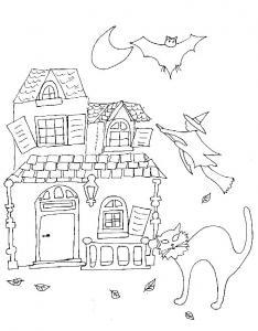 Imprimer le coloriage de la maison de la sorcière