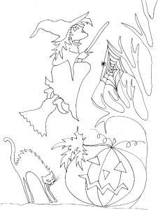 Imprimer le coloriage sorcière au balais et toile d'araignée