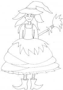 Imprimer le coloriage halloween jolie sorcière