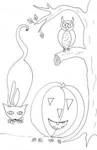 Imprimer le coloriage halloween chat citrouille hibou