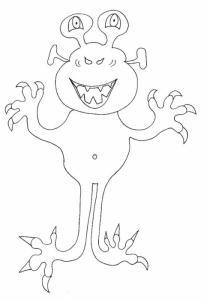 Imprimer le coloriage d'un monstre à deux yeux