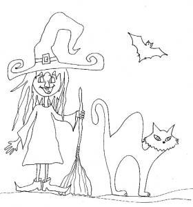 Imprimer le coloriage halloween de la sorcière à deux dents
