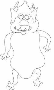 Imprimer le coloriage de monstre d'halloween 2 cornes marteau