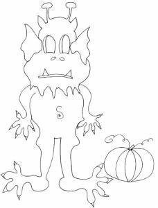 Imprimer le coloriage d'un monstre d' halloween