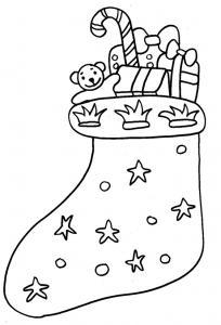 Coloriage d'une botte de Noël garnie