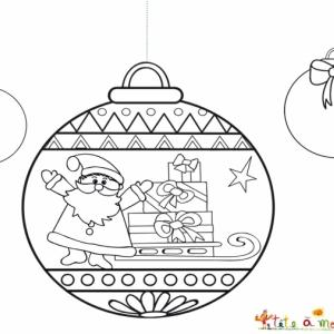 Coloriage 3 boules dont celle au Père Noël