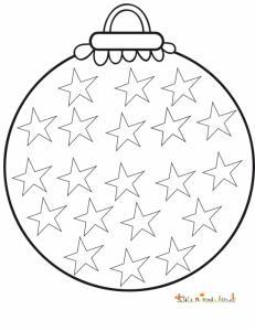 Coloriage grosse boule ronde de Noël aux étoiles
