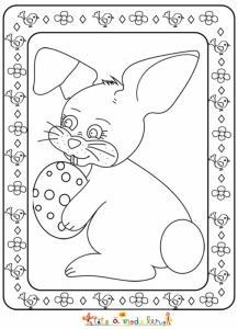 Dessin du lapin de Pâques de profil encadré