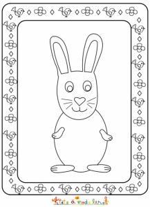 Coloriage cadre Pâques : le gros lapin
