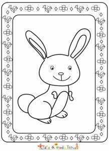Petit lapin dans un joli cadre à colorier