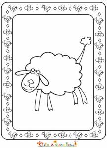Gros mouton à imprimer pour le coloriage, le dessin du mouton étant dans un cadre décoré de petit poussins et de fleurs, il peut aussi être colorié pour Pâques.