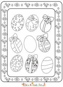 Tableau des oeufs de Pâques à colorier