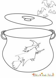 Coloriage du chaudron de la sorcière
