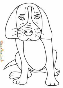 Coloriage du chien aux grandes oreilles assis