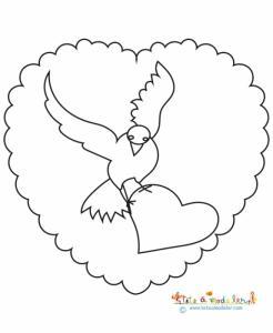 Dessin d'une colombe tenant dans ses pattes un gros coeur, le tout dans un médaillon en forme de coeur - Un coloriage de coeur et de colombe à imprimer pour préparer la fête des mères.