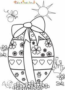 Oeuf de Pâques posé dans les fleurs à colorier
