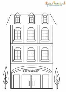 Immeuble de ville à colorier