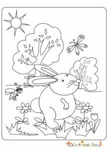 Lapin dans le jardin à colorier