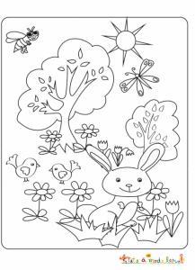 Petit lapin jouant dans le jardin à colorier