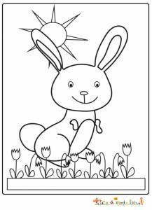 Coloriage du lapin dans les tulipes