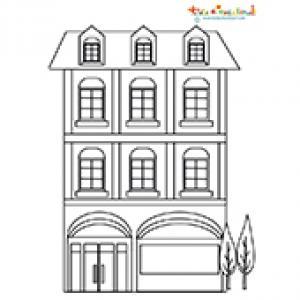Coloriage maison ville 2 étages
