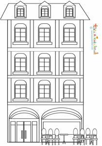 Coloriage Immeuble 3 étages