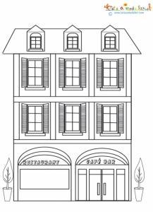 Coloriage petit immeuble d'habitation
