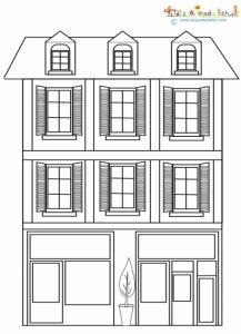 Une maison de ville à colorier