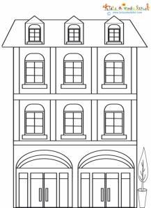 Maison à deux étages à colorier