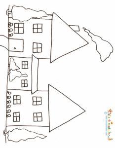 Coloriage de 3 maisons de ville
