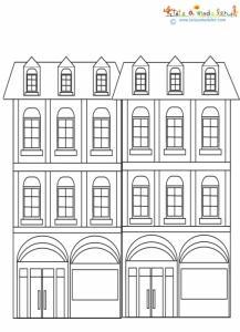 Deux immeubles de rue à colorier