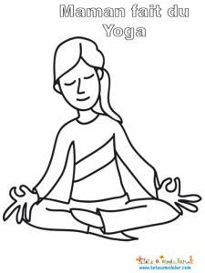 Maman c'est mise au yoga ! coloriage de maman prenant une position de yoga pour devenir plus zen !
