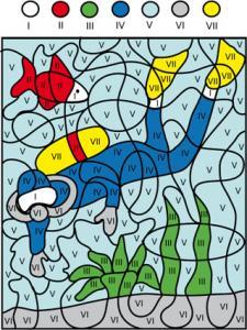Solution du Jeu de coloriage numéroté : chiffres et mer n°2