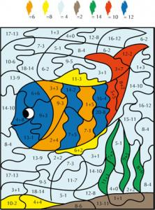 Solution du Jeu de coloriage numéroté : chiffres et mer n°4